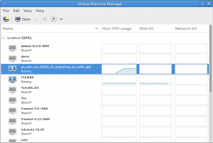 Virtual machine list
